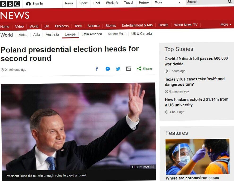 BBC o wyborach prezydenckich w Polsce