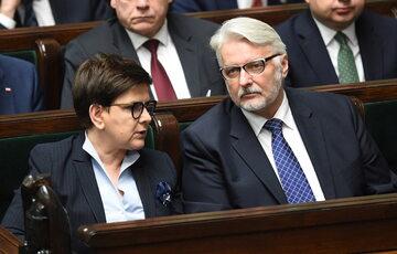 Beata Szydło i Witold Waszczykowski w Sejmie
