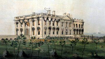 Biały Dom po spaleniu przez Brytyjczyków. Wojna brytyjsko-amerykańska, 1814 rok