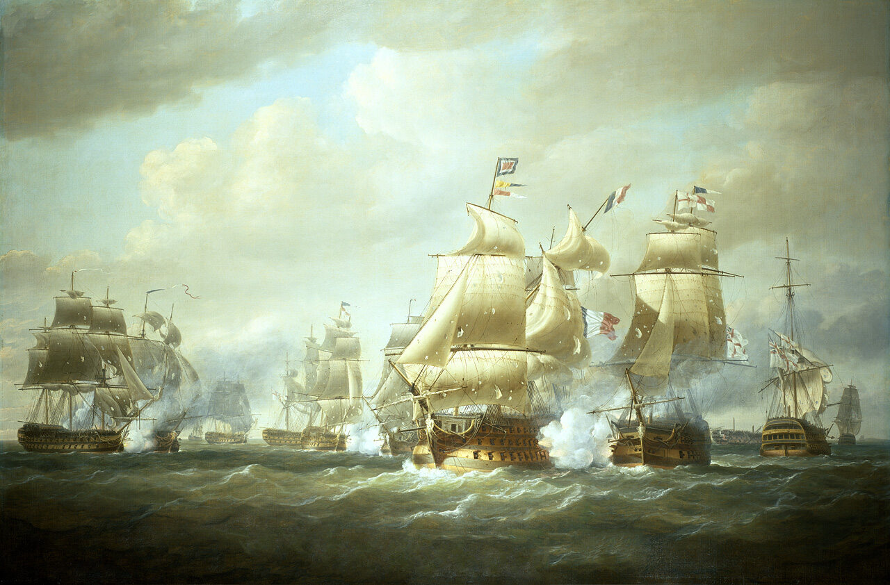 Bitwa na morzu w pierwszych latach XIX wieku na obrazie Nicholasa Pococka