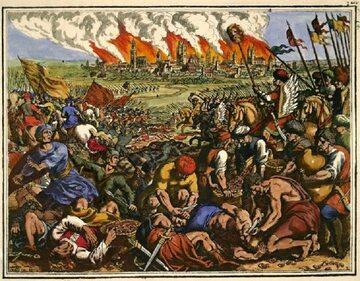 Bitwa pod Legnicą na miedziorycie Matthäusa Meriana Starszego, 1630 roku.