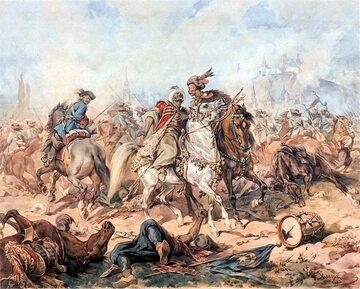 Bitwa pod Parkanami - obraz Juliusza Kossaka