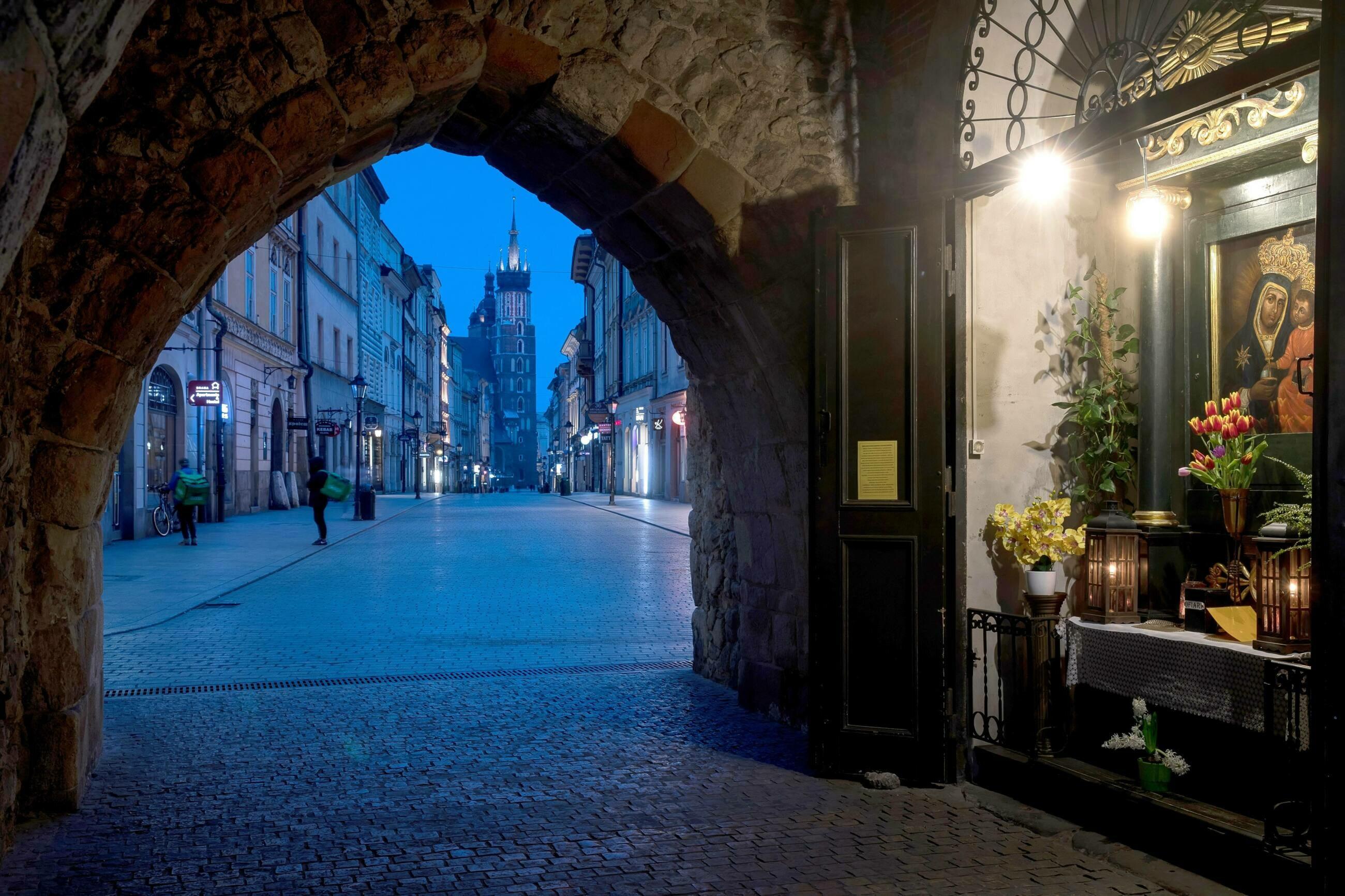 Brama Floiańska z kapliczką w Krakowie