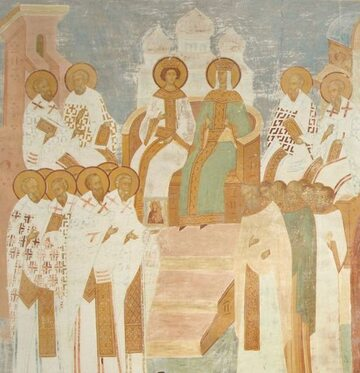 Cesarzowa Irena i jej syn Konstantyn VI na XV-wiecznym fresku