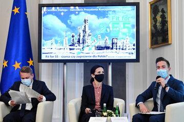 """Debata klimatyczna """"Fit for 55 - szansa, czy zagrożenie dla Polski"""" w Belwederze w Warszawie."""