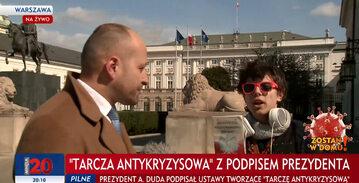 Do niecodziennej sytuacji doszło podczas relacji na żywo sprzed Pałacu Prezydenckiego w Warszawie.