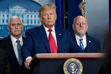 Donald Trump na konferencji w Białym Domu