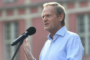 Donald Tusk podczas wiecu w Gdańsku