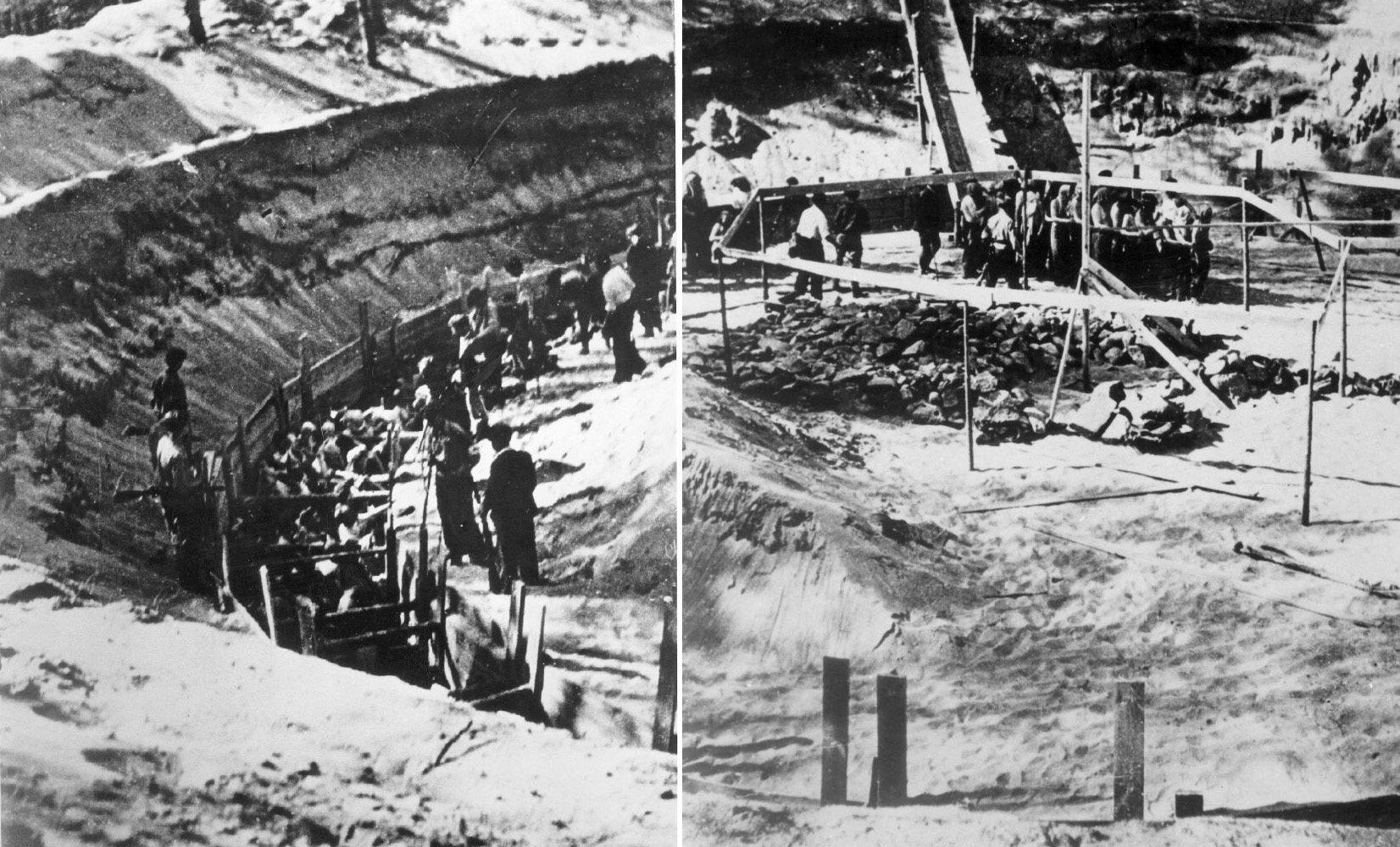 Dwie fotografie przedstawiające ludobójstwo w Ponarach, wykonane w 1941 r.