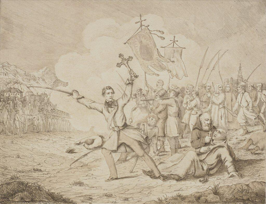 Edward Dembowski na czele procesji z 27 lutego 1846 na akwaforcie Józefa Bohdana Dziekońskiego (Akwaforta sprzed 1855 roku. Biblioteka Narodowa).