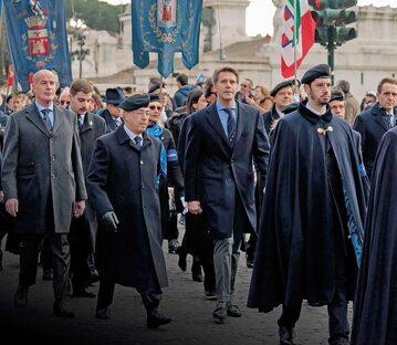Emanuel Filibert, książę Wenecji i Piemontu, podczas uroczystości z okazji 141. rocznicy powołania Gwardii Honorowej Grobu Królewskiego na Panteonie (Rzym, 10 lutego 2019 r.)
