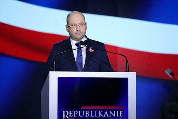 Europoseł PiS Adam Bielan podczas prezentacji nowej inicjatywy politycznej - Partii Republikańskiej. Warszawa, 20.06.2021.