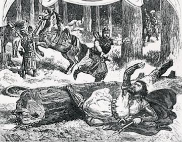 Fatalny upadek Kazimierza Wielkiego. Rysunek Ksawerego Pillatiego.