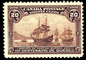 Flota Cartiera na kanadyjskim znaczku z 1908 roku