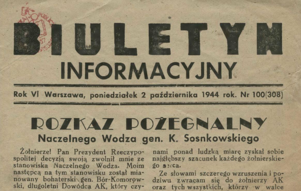"""Fragment """"Biuletynu Informacyjnego"""" z 2 października 1944 roku"""