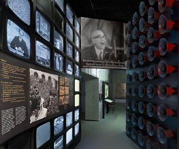 Fragment ekspozycji poświęconej wydarzeniom marcowym w Muzeum Historii Żydów Polskich.