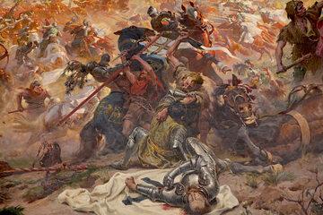 """Fragment obrazu """"Bitwa pod Grunwaldem"""" Tadeusza Popiela i Zygmunta Rozwadowskiego"""