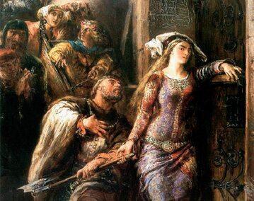 """Fragment obrazu Jana Matejki """"Królowa Jadwiga i Dymitr z Goraja"""", 1882 r., olej/tektura, 46 x 38 cm"""