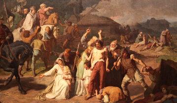 """Fragment obrazu Wojciecha Gersona, """"Opłakane apostolstwo"""", 1866 rok, olej/płótno; wymiary: 290 x 460 cm, Muzeum Narodowe w Krakowie."""