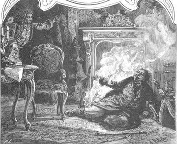 Fragment rysunku przedstawiającego wypadek Stanisława Leszczyńskiego z cyklu Ksawerego Pillatiego. 1888 r.
