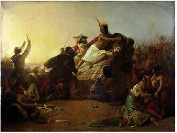 Francisco Pizarro chwyta Athaualpę, władcę imperium Inków.