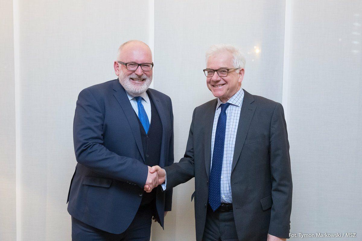 Frans Timmermans i prof. Jacek Czaputowicz