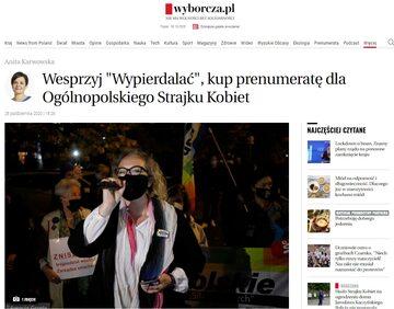 """""""Gazeta Wyborcza"""" zachęca protestujących do wykupienia prenumeraty"""