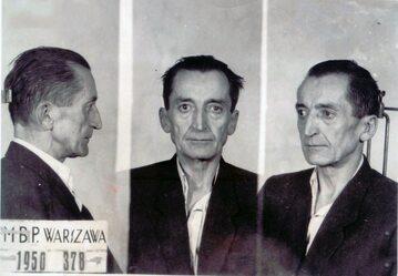 """Gen. August Emil Fieldorf """"Nil"""" po aresztowaniu w 1950 roku."""