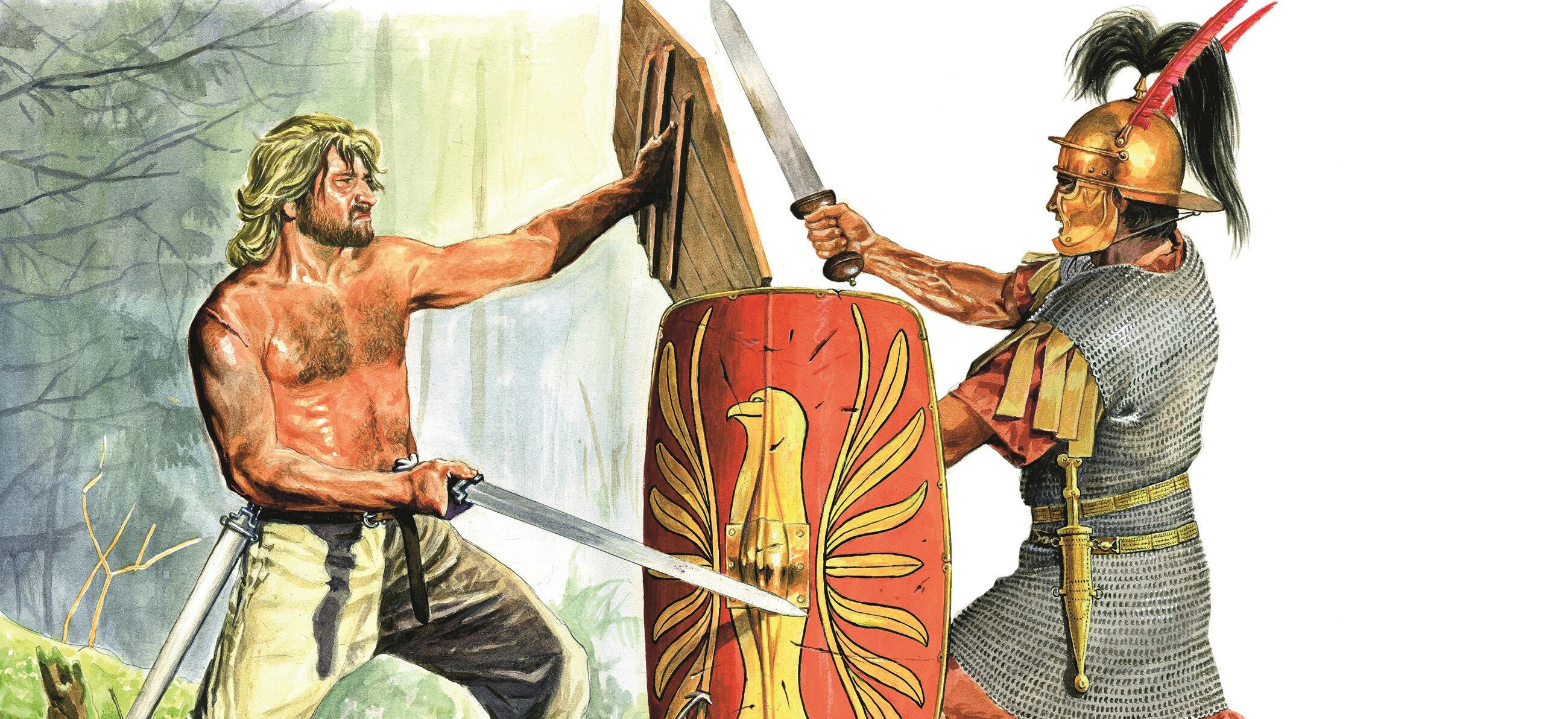 Germański wojownik i rzymski legionista w walce na miecze