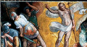 """Giovanni Battista Lombardelli, """"Zmartwychwstanie"""", fresk na ścianie ponad kaplicą Falconich w Santa Maria ai Monti w Rzymie, ok. 1600 r."""