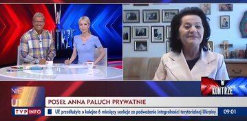 """Gościem programu """"W kontrze"""" w TVP Info była posłanka PiS Anna Paluch"""