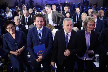 Grzegorz Schetyna (2P), Hanna Zdanowska (P), Rafał Trzaskowski (2L) i Ewa Kopacz (L) podczas obrad Rady Krajowej Platformy Obywatelskiej,