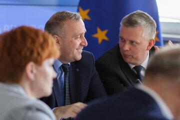 Grzegorz Schetyna i Tomasz Siemoniak na posiedzeniu gabinetu cieni