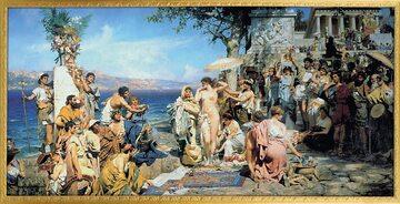 """Henryk Siemiradzki """"Fryne na święcie Posejdona w Eleusis"""" (1889), Państwowe Muzeum Rosyjskie"""