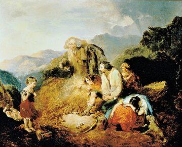 """""""Irlandzka rodzina odkrywa zarazę w kopcu ziemniaków"""", obraz Daniela MacDonalda z 1847 r."""
