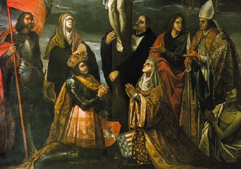 Jadwiga i Władysław pod krzyżem, obraz Tomasza Dolabelli. I połowa XVII w.