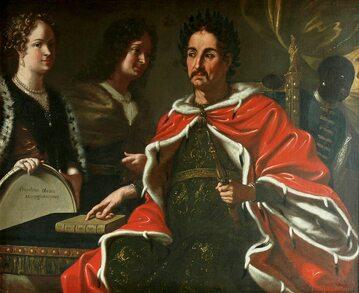 Jan III Sobieski przekazujący Jakubowi prawo do korony, obraz nieznanego autora z 1697 r.