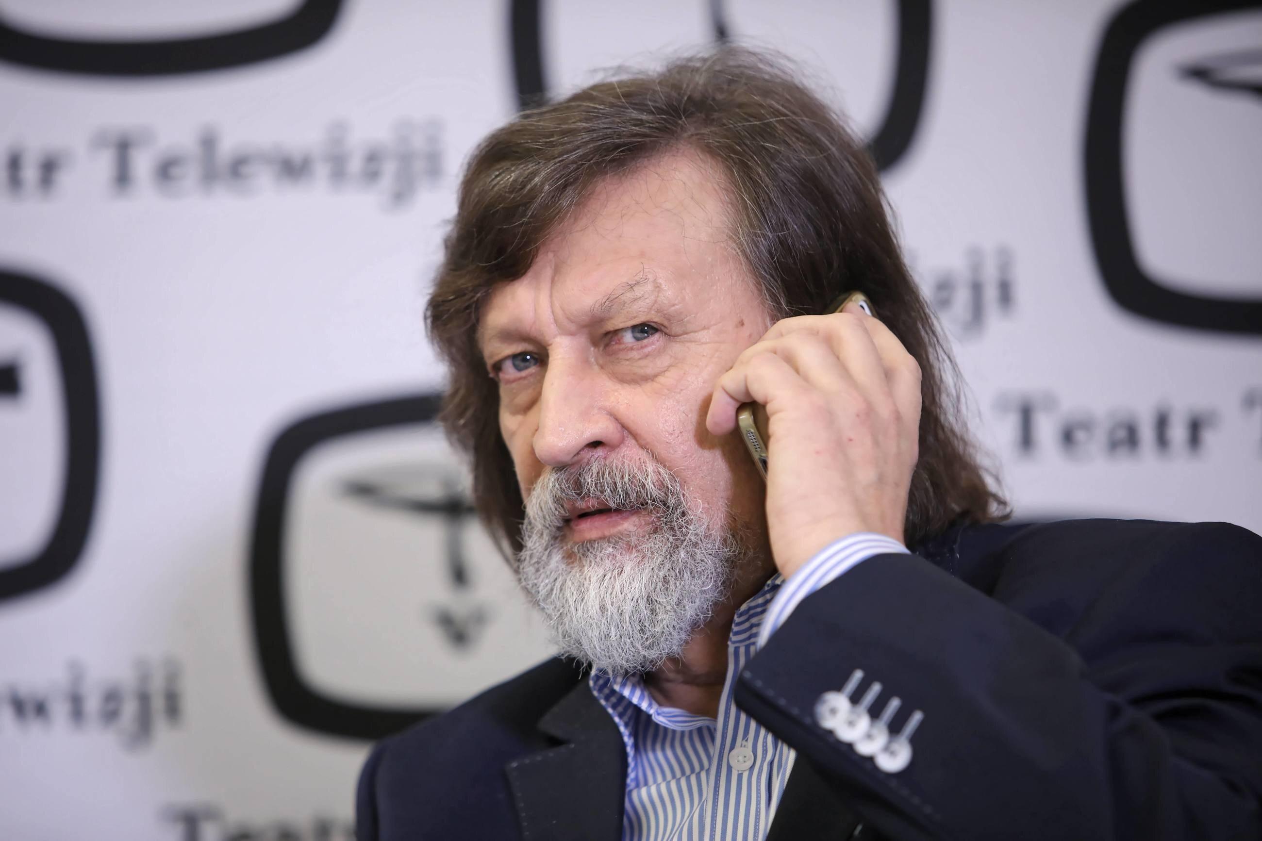 Jan Maria Tomaszewski podczas spotkania w siedzibie TVP