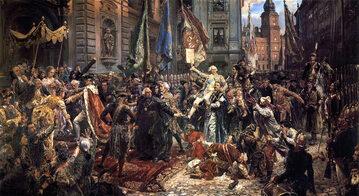 """Jan Matejko """"Konstytucja 3 Maja 1791 roku"""" (1891), olej/płótno; wymiary: 247 × 446 cm, Zamek Królewski w Warszawie."""