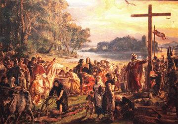 """Jan Matejko,  """"Zaprowadzenie chrześcijaństwa R.P. 965"""", z cyklu """"Dzieje Cywilizacji w Polsce"""", (1889 rok)"""
