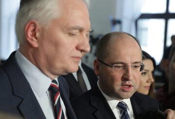 Jarosław Gowin i Adam Bielan podczas konferencji w Sejmie