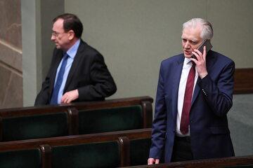 Jarosław Gowin i Mariusz Kamiński podczas obrad Sejmu