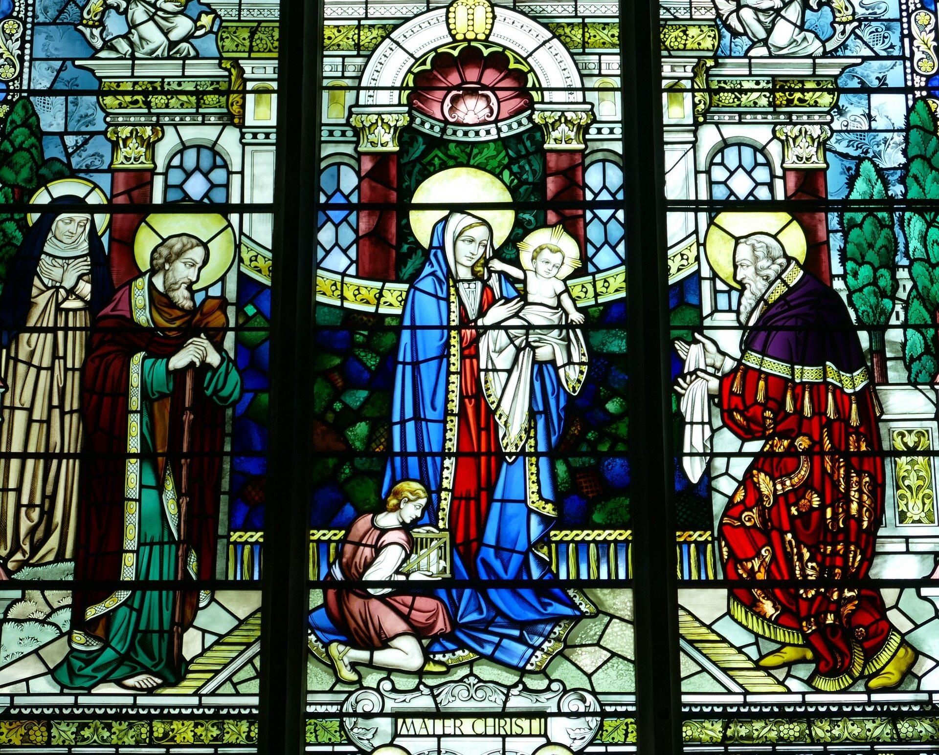 Jezus z Maryją - witraż