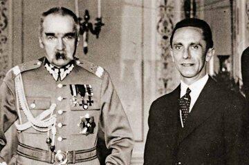 Joseph Goebbels na spotkaniu z marszałkiem Józefem Piłsudskim, Warszawa, czerwiec 1934 r. (pięć miesięcy po podpisaniu polsko-niemieckiej deklaracji o niestosowaniu przemocy)