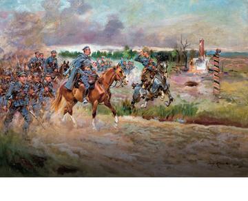 """""""Józef Piłsudski wkracza ze strzelcami na teren Królestwa Polskiego"""", obraz Jerzego Kossaka."""