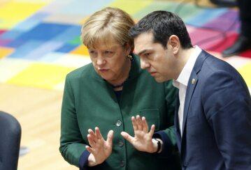Kanclerz Niemiec Angela Merkel i premier Grecji Aleksis Cipras