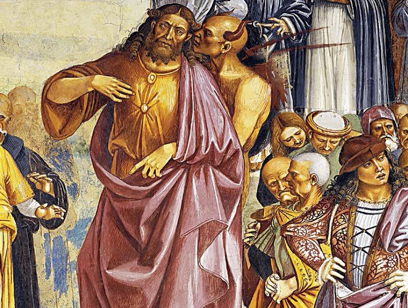 """""""Kłamstwa Antychrysta"""" – fragment fresku autorstwa Luki Signorellego z lat 1499–1504, który znajduje się w katedrze w Orvieto"""