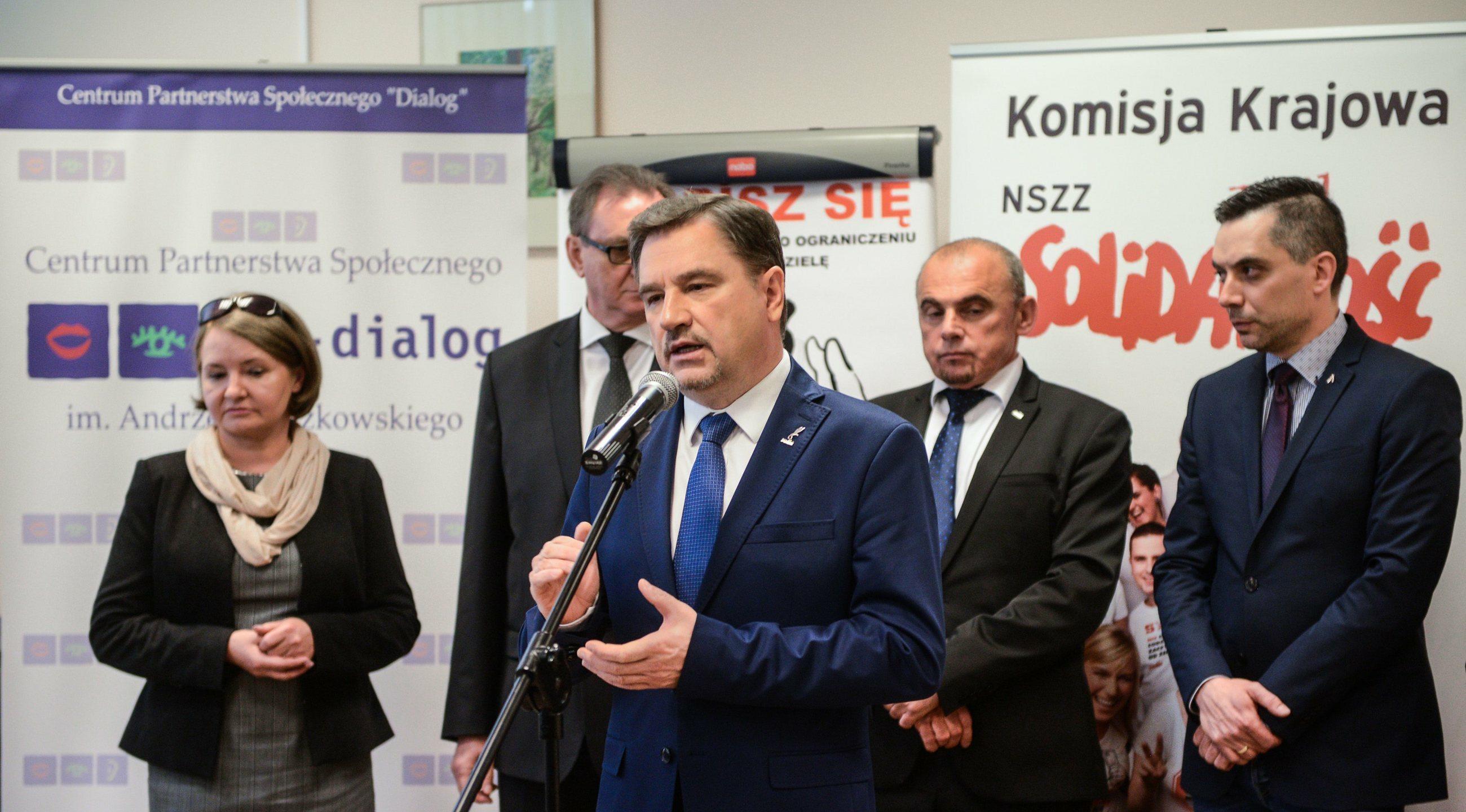 """Konferencja NSZZ """"Solidarność"""" dotycząca zakazu handlu w niedzielę"""