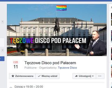 """""""Koniecznie przyjdźcie i wytańczcie mu wszystko przed oknami! Love is love!"""" – zachęcają działacze z Warszawskiego Strajku Kobiet, promując wydarzenie """"Tęczowe Disco pod Pałacem""""."""