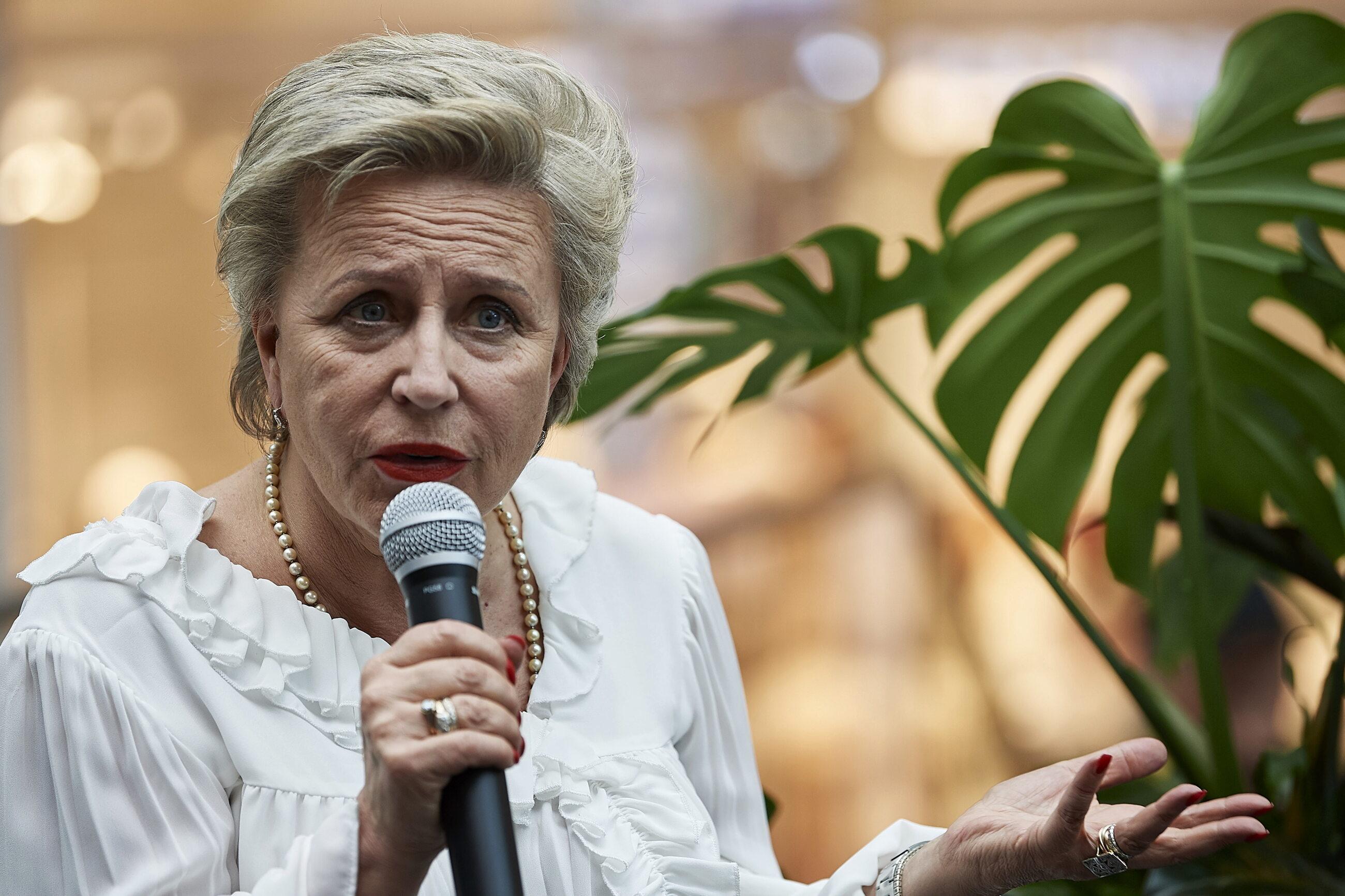Krystyna Janda podczas konferencji prasowej w Gdańsku